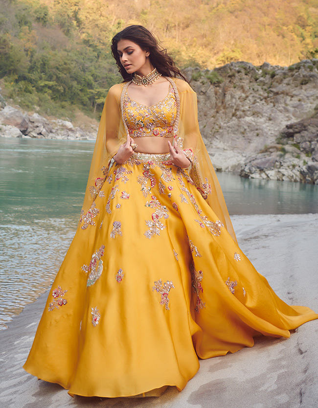far yellow lehenga